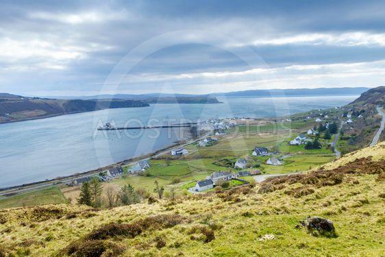 Village of Uig and Uig Bay, Scotland.