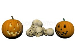skeleton and pumpkin - 3d render