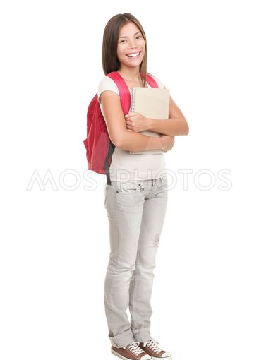 College student standing on white background