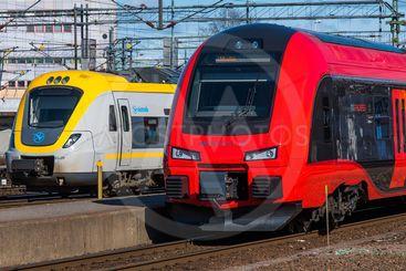 Moderna motorvagnar på Göteborgs centralstation