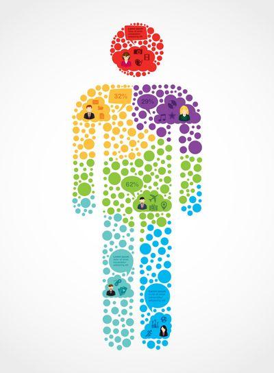 Social media man shape infographic illustration