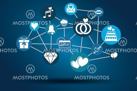 Graphic Vector Network Wedding blue