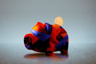 abstract piggy bank with bitcoin