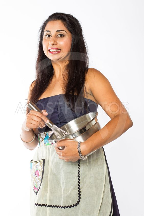 Worried Indian Woman with Silver Bowl and Whisk