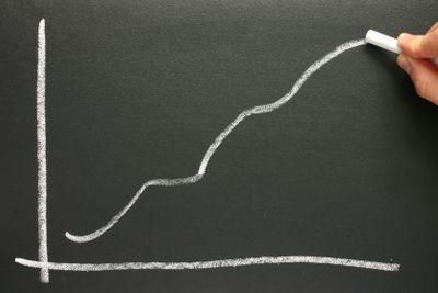 Drawing a profit projection chart on a blackboard.