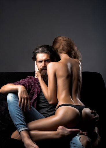 man and woman with sexy buttocks