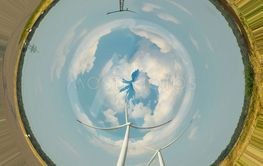 Wind turbines. Photo effect distortion filter