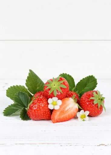 Strawberries fruits strawberry leaves portrait format...