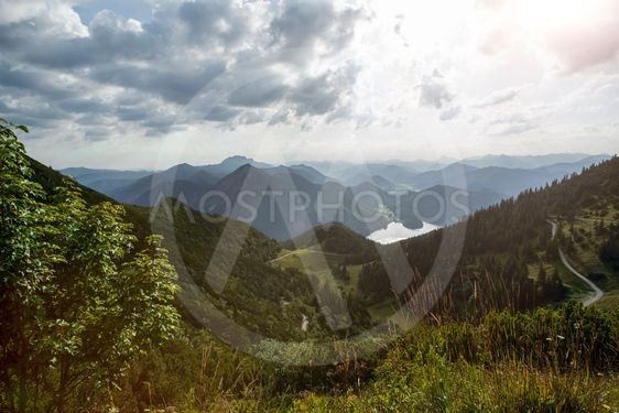 Distance view Bavarian mountains, from Herzogstand...