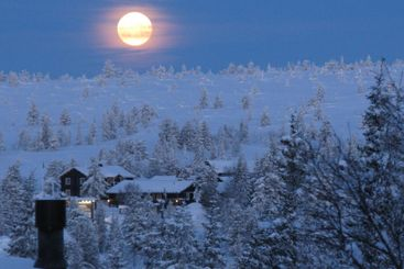 winter fullmoon in early morning