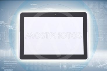 Tablet PC on high-tech blue background
