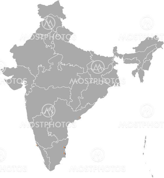 Karta Over Indien Puducher Av Steffen Hammer Mostphotos