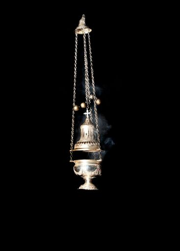 Ceremonial thurible hanging in the orthodox chapel