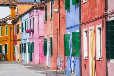 Sunny street in colourful Burano, Italy.