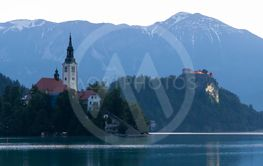 Lake Bled with mountains in Slovenia