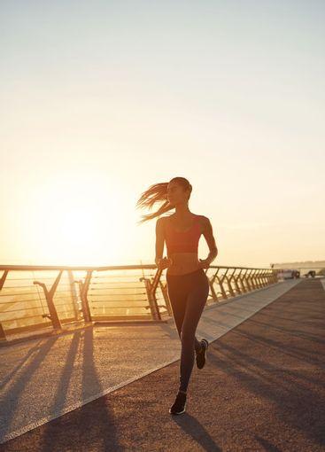 Girl doing sport outdoors in the morning