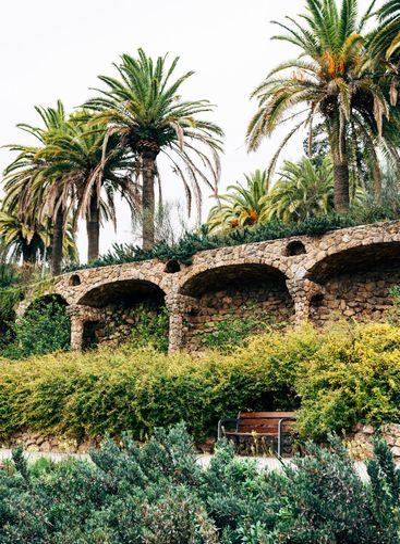 Walking alleys in Guell Park, Barcelona, Spain. Big date...