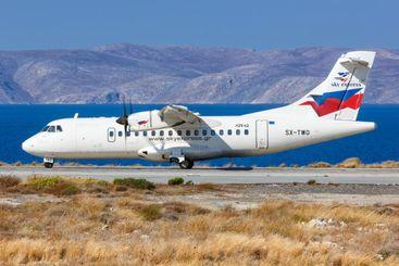 Sky Express ATR 42-500 airplane Heraklion Airport in Greece