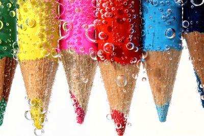 Color Pencils in Soda Water