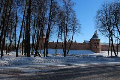 Novgorod Kremlin, brick, tower. winter, sunny day,...