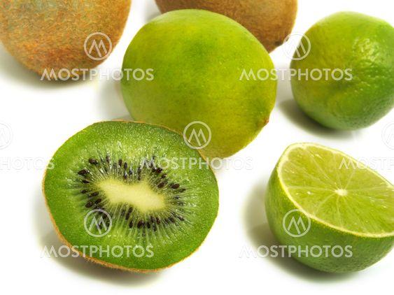 Half and whole kiwis and limes