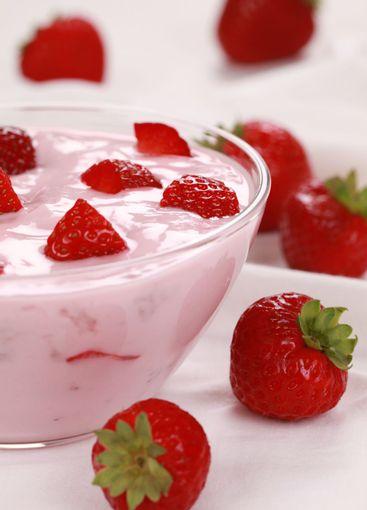 Yogurt with delicious strawberries