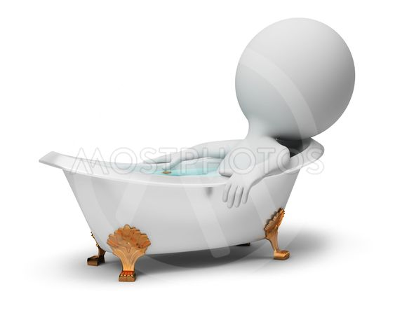3d small people - in a bath