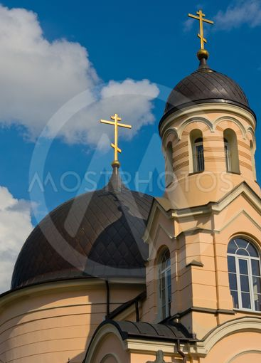 Gold crosses on the Orthodox Church