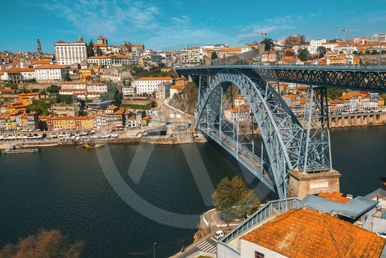 Dom Luis iron Bridge at Duoro river in old downtown...