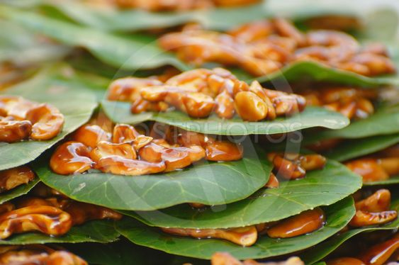 Candied Cashew Nuts on a Leaf