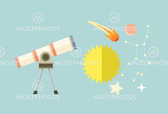 Telescope, Celestial Bodies onstellation sun