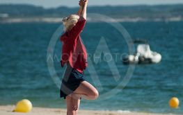 woman making exercice on the beach