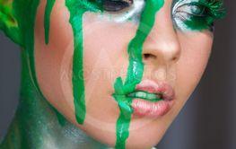 Green metallic makeup