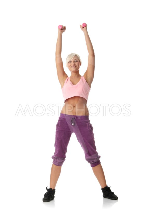 Young beautiful woman during fitness time