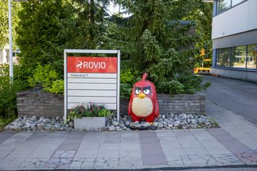 Angry birds character and Rovio sign in Rovio head office.