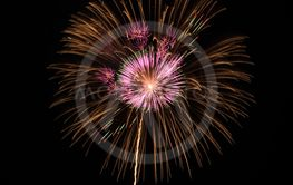 Colorful fireworks on black background