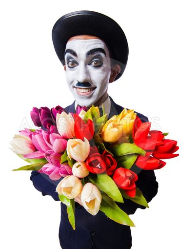 Man with flowers isolated on the white