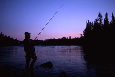 Fishing in mountain lake