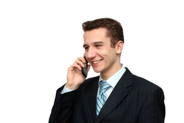 smiling man calling by phone