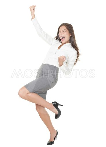 Young successful businesswoman celebrating Success