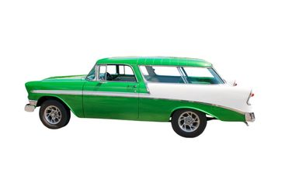 retro green wagon hotrod