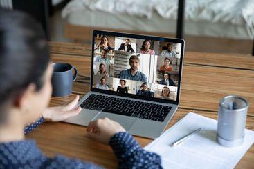 Female employee have webcam team online meeting