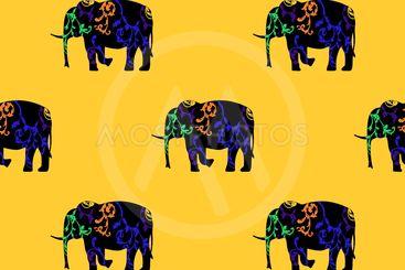 Seamless pattern of a running elephant.