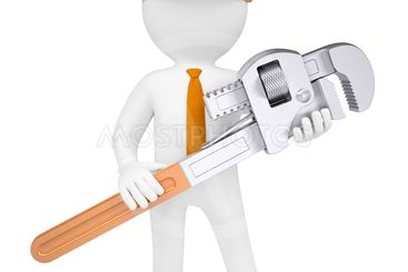 3D man holding a pipe wrench