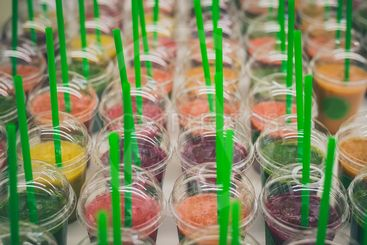 Many smoothies in cups