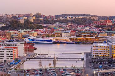 View of Gothenburg city at sunset