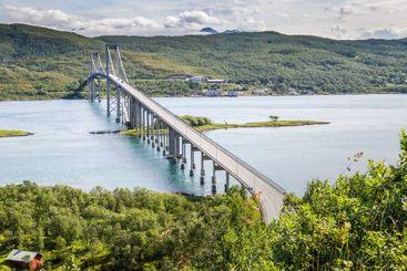 Tjeldsund Bridge, Lofiten islands, Norway.