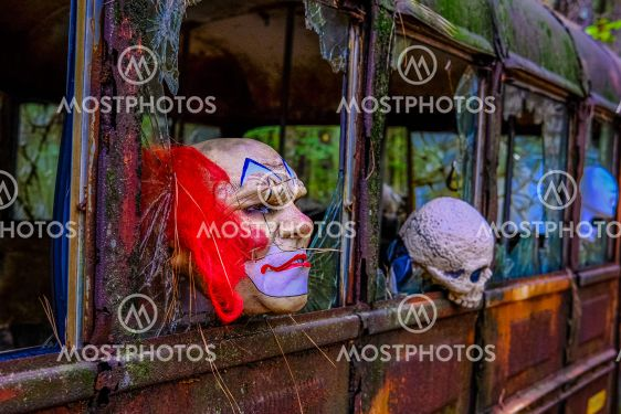 Spooky Masks on a Bus