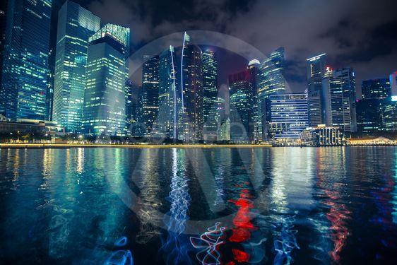 Night scene of financial district Marina Bay in Singapore.