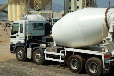 The concrete mixer truck